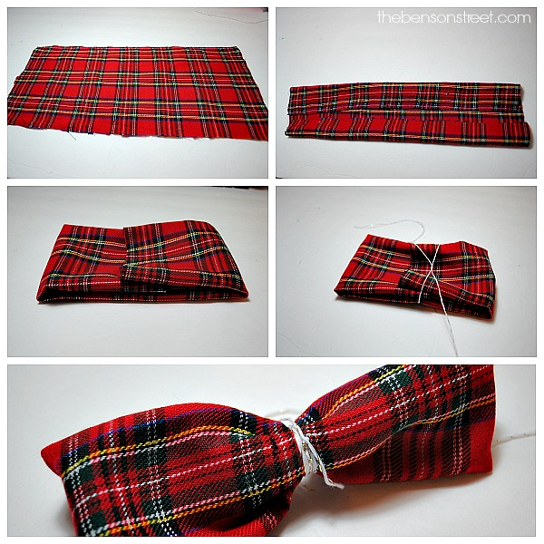 Cute Plaid Bow Ornament Tutorial at thebensonstreet.com