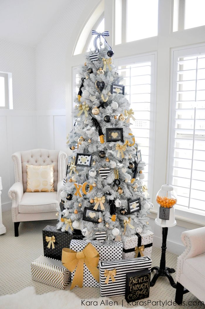 Gold-Black-and-White-striped-polka-dot-Modern-Holiday-Christmas-Tree-by-Kara-Allen-KarasPartyIdeas.com-for-Michaels-Dream-Tree-Challenge-2014-MichaelsMakers-TagATree-DreamTreeChallenge-2
