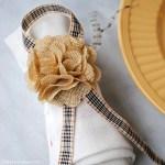 Burlap Flower and Ribbon Thanksgiving Napkin Ring