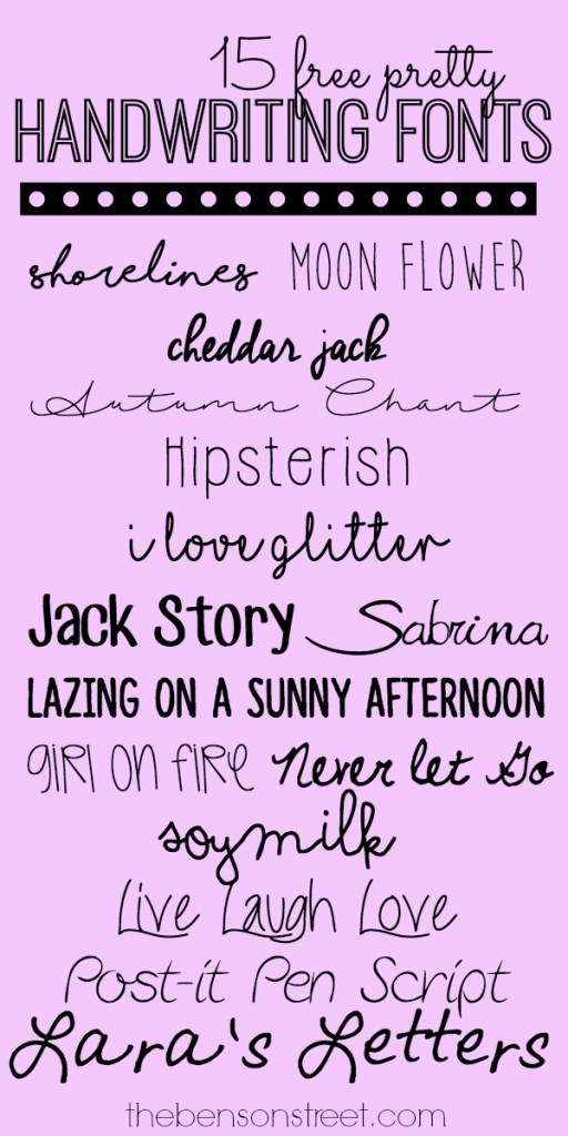 15 free pretty handwriting fonts at thebensonstreet.com
