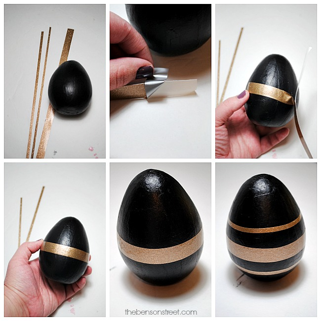 Easy to make black and gold Easter eggs using paint and vinyl by thebensonstreet.com