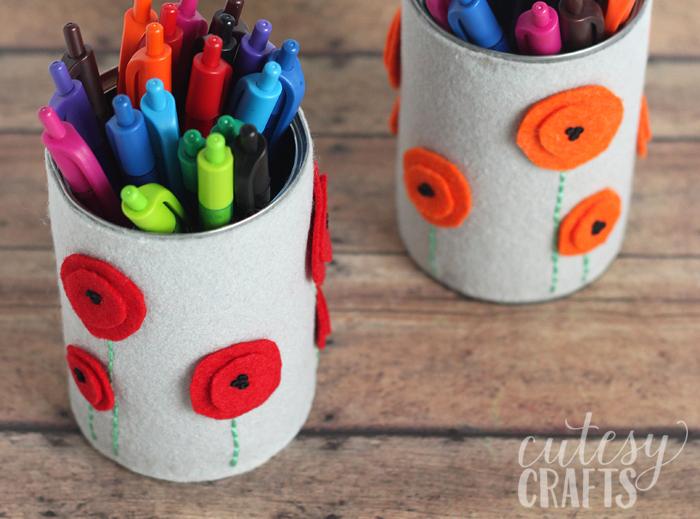 felt flower pen holder teacher gift