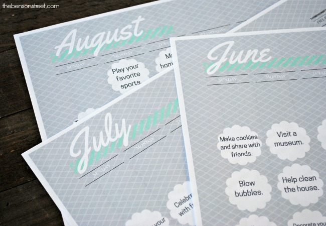 Keep the kids busy with this printable summer fun activity calendar at thebensonstreet.com