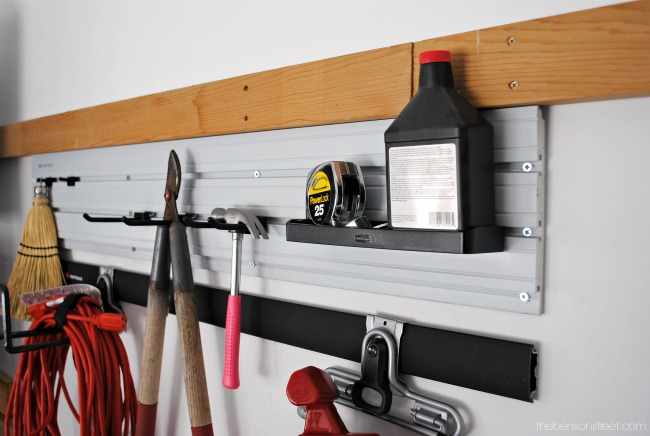 Simple way to organize and store garage tools via thebensonstreet.com