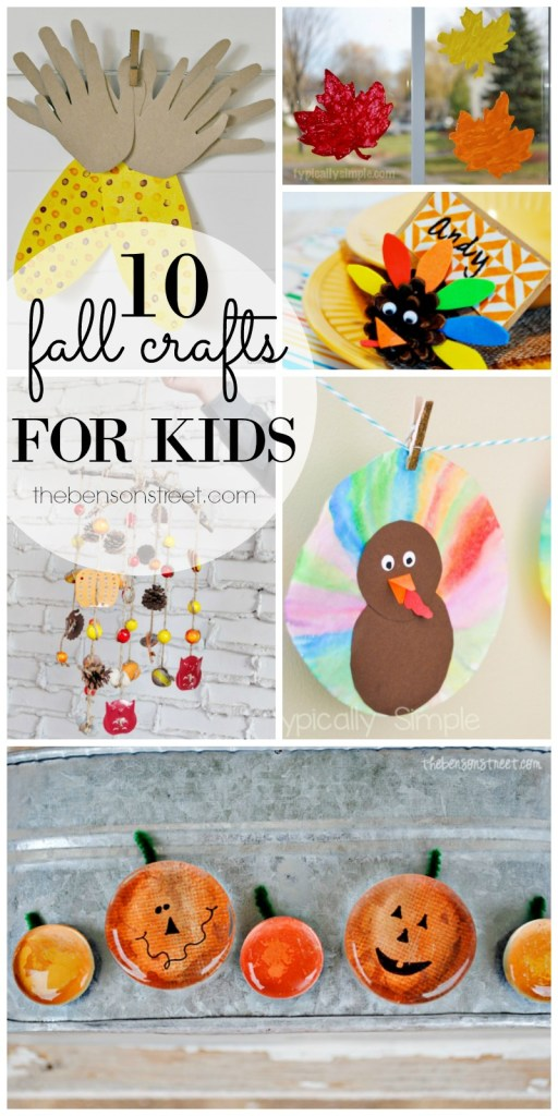 10 Fall Crafts for Kids featured on thebensonstreet.com