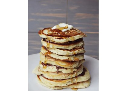 Banana Nut Pancakes with Nutellaand Peanut Butter