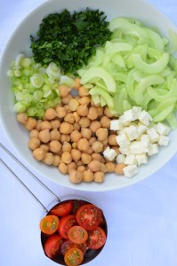 Cucumber, Chickpea, Feta and Tomato Chop Salad ready for the vinaigrette