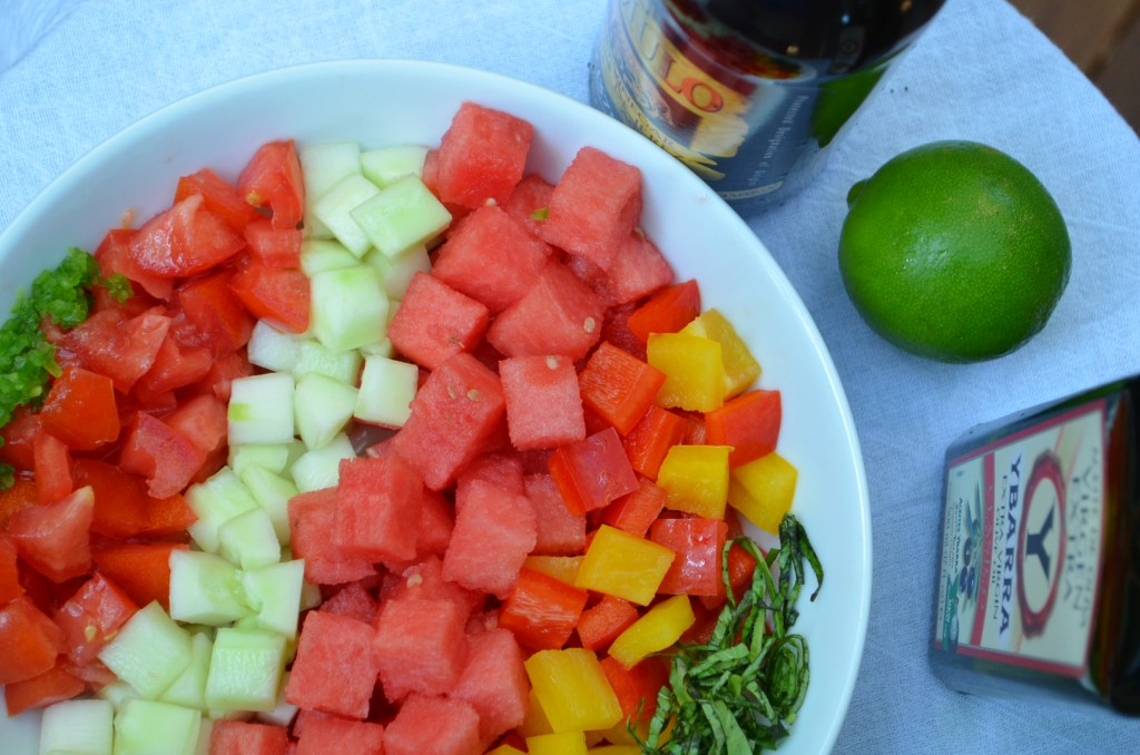 Chilled Watermelon Chop Salad Before Mixing