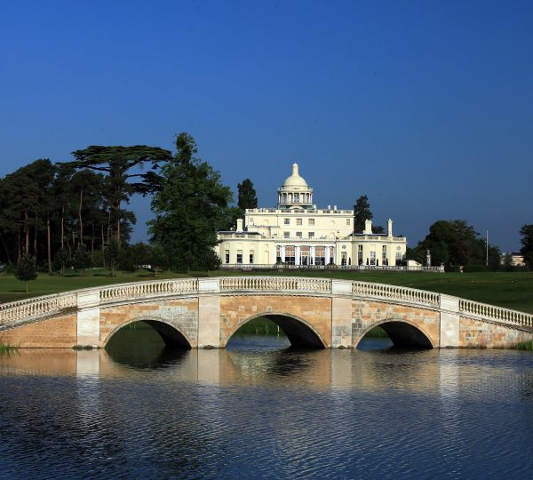 STOKE POGES, BUCKINGHAMSHIRE - JUNE 04:  A view of the Clubhouse from the side of the lake at The Stoke Park Club, on June 4, in Stoke Poges, England.  (Photo by David Cannon/Getty Images)