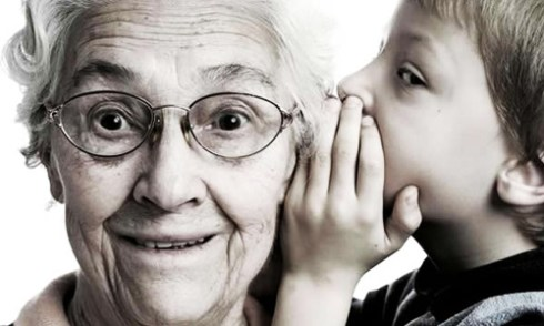 how to compliment, sweet somethings, boy whispering to grandmother