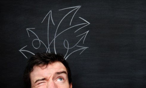 the downside of choice - man thinking with arrows over head - The Best Advice So Far