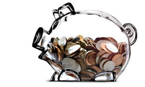 glass piggy bank with change inside