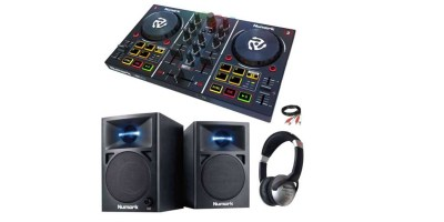 Numark Party Mix DJ Controller with Lightshow Monitor Speakers & Headphones
