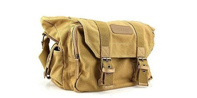 BESTEK Waterproof Canvas DSLR Camera Shoulder Bag with Shockproof Insert – Khaki