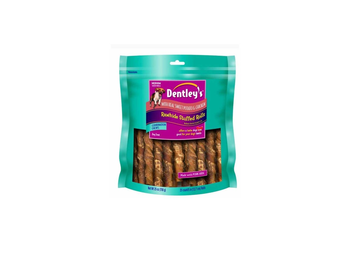 Dentley's Rawhide Stuffed Rolls Dog Treat - Sweet Potato & Chicken for $17.59 atPetsmart
