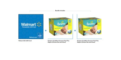 2-Pk Pampers Swaddlers Economy Plus Diapers + $20 Walmart GC