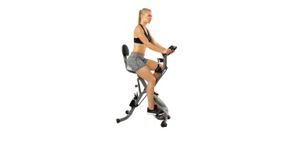 Sunny Health & Fitness Foldable Semi-Recumbent Magnetic Upright Exercise Bike w Pulse Rate Monitoring