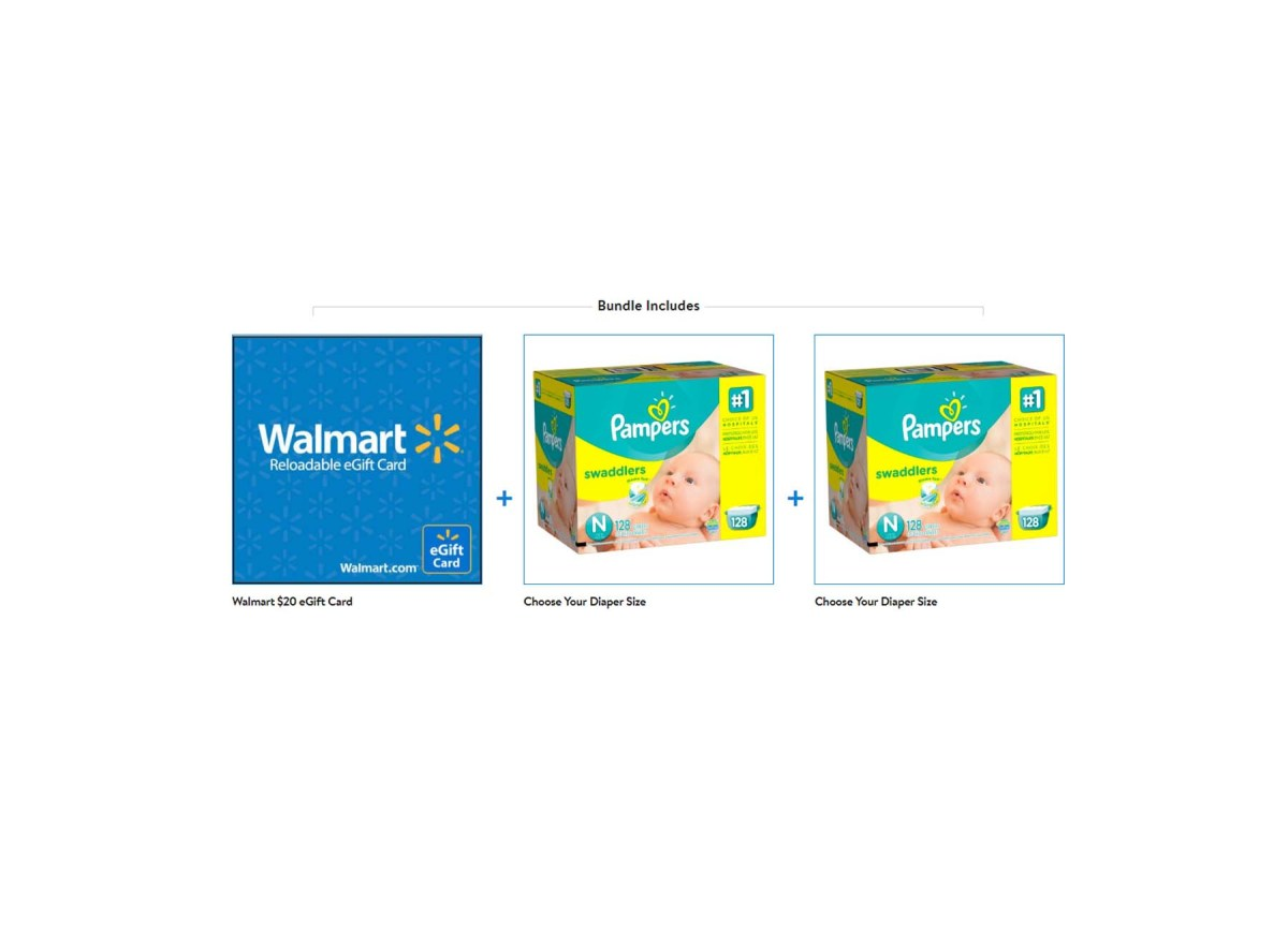 2 Pack Pampers Swaddlers Diapers Giant Bundle + $20 eGift Card for $59.98 at Walmart