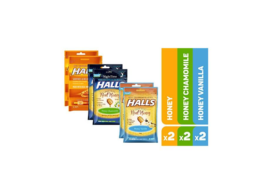 HALLS Honey Cough Drops Variety Pack - 170 total drops (Honey, Honey Vanilla & Honey Chamomile) for $7.99 or less at Amazon with Subscribe & Save
