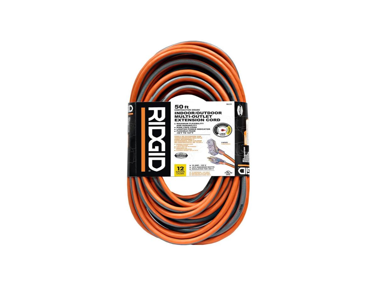 RIDGID 50 ft. 12/3 Tri-Tap Outdoor Extension Cord, Orange And Grey for 24.99 at Homedepot