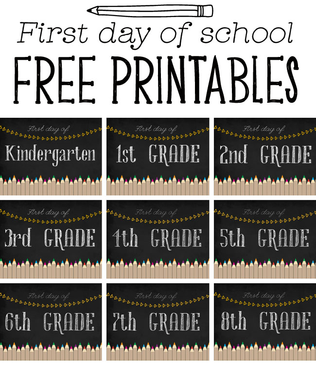 First Day of School Chalkboard Free Printables