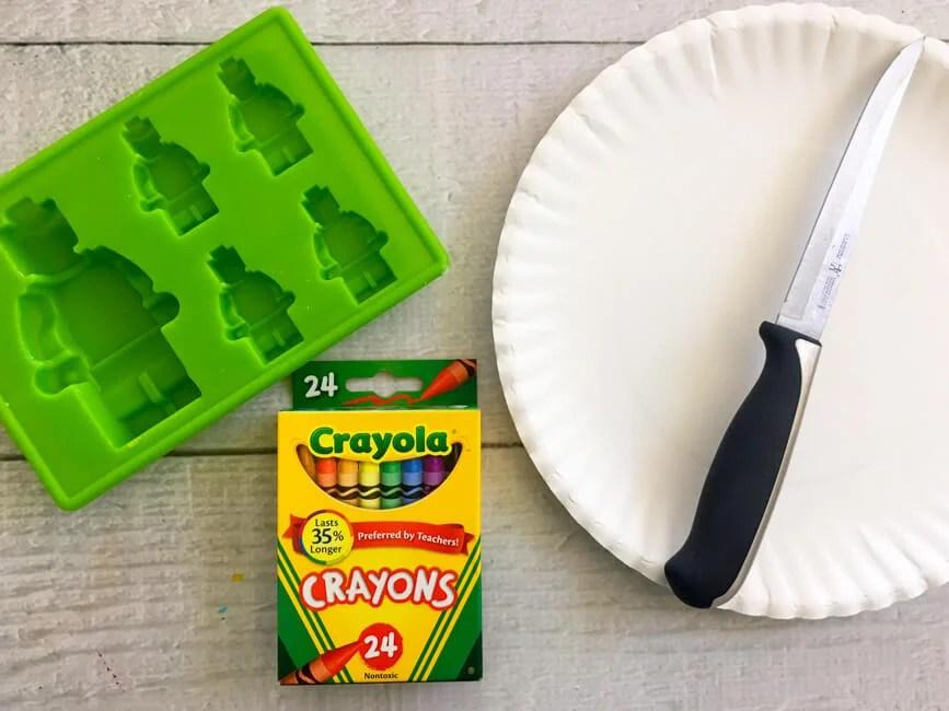 Supplies to make lego crayons
