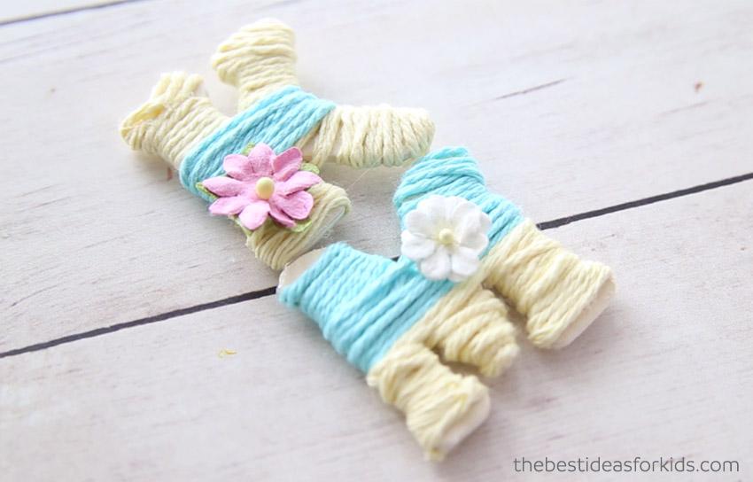 Yarn Wrapped Letter K & M