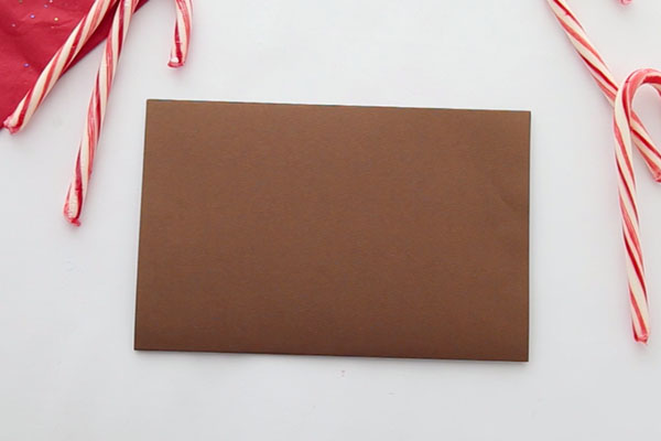 Fold Brown Paper over for Reindeer Card