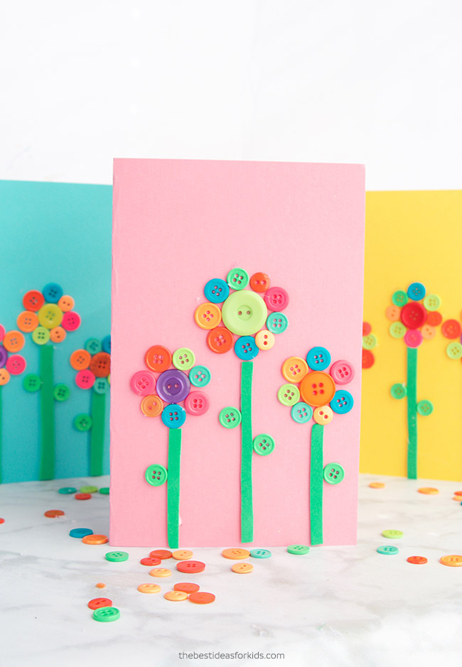 Button Flower Card Craft
