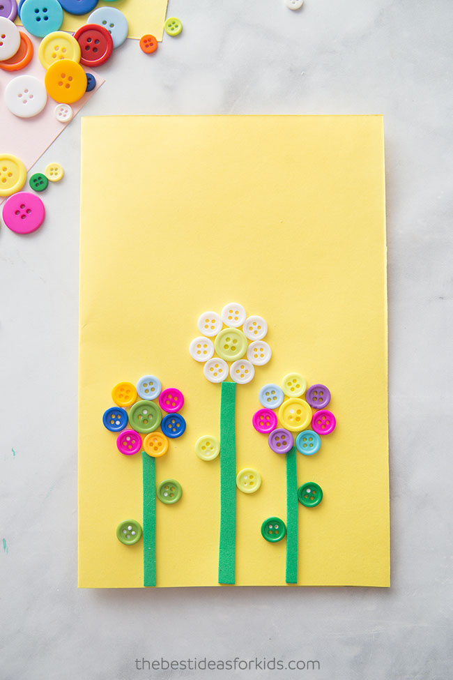 Flower Button Card Craft