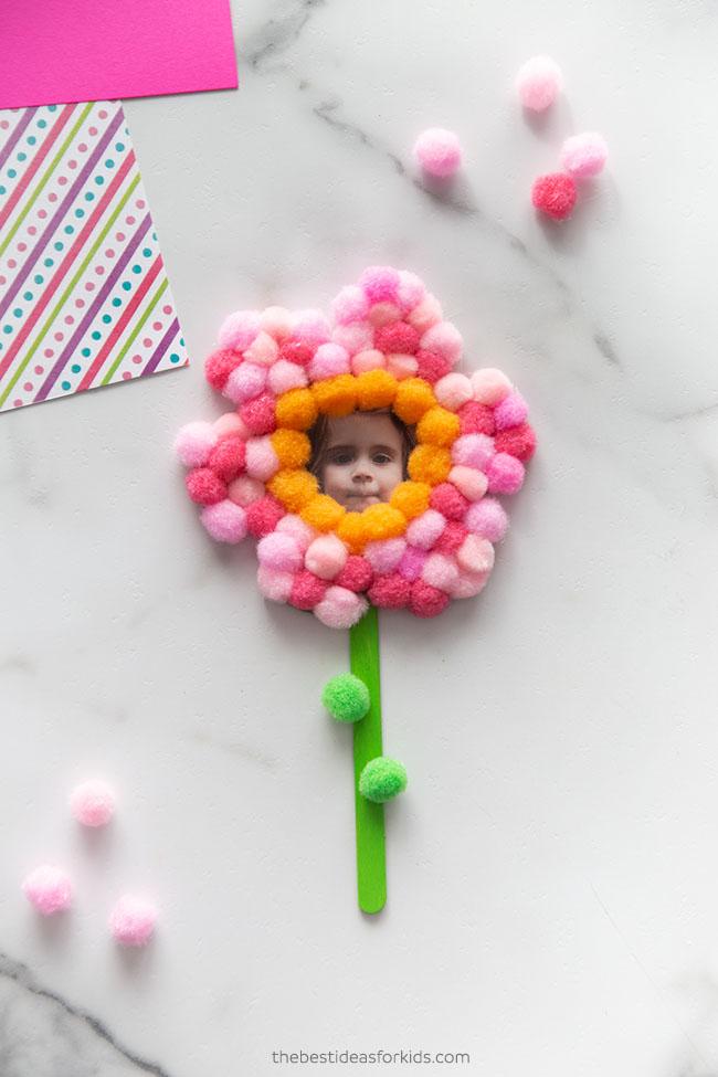 Pom Pom Popsicle Stick Flower