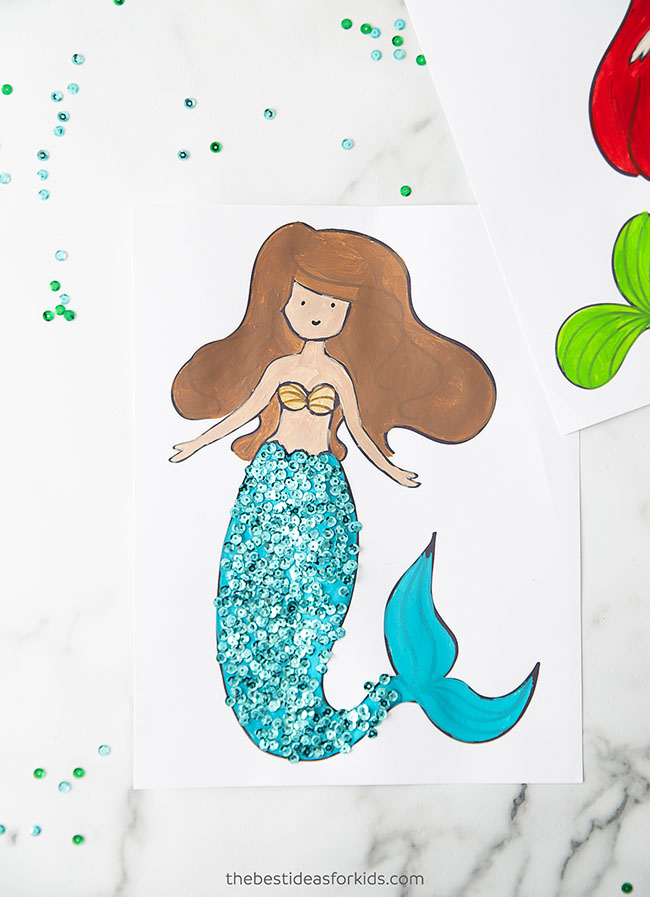 Mermaid Coloring Page Craft for Kids