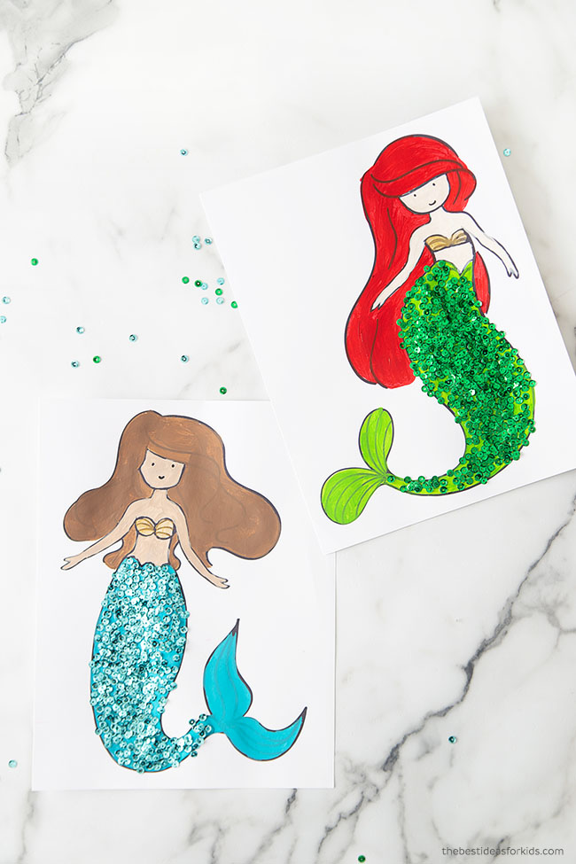Mermaid Coloring Pages Craft