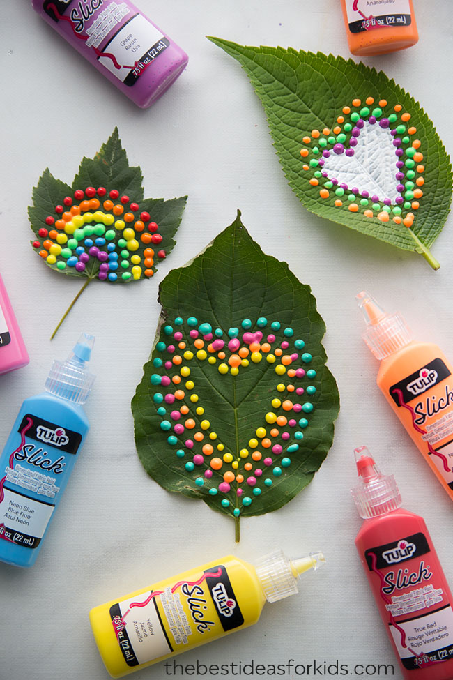 Puffy Painting on Leaves