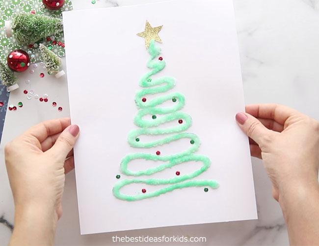Christmas Tree Salt Painting Craft
