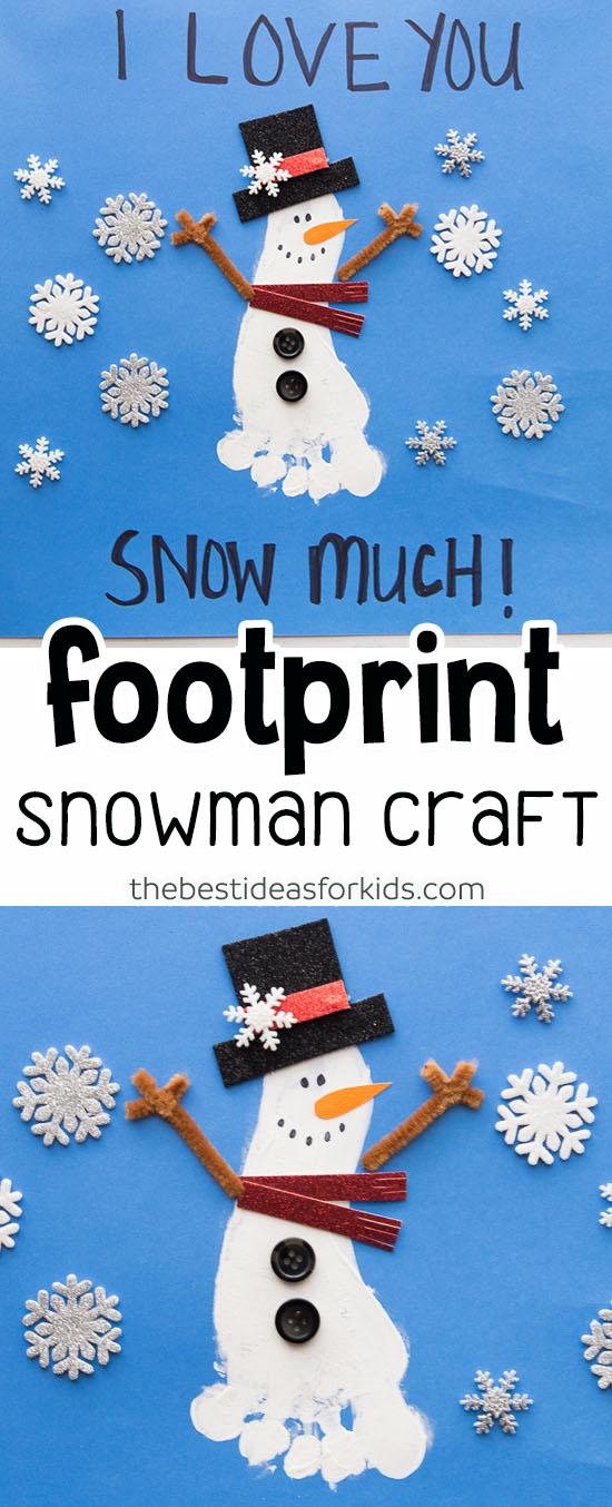 Footprint Snowman Craft for Kids