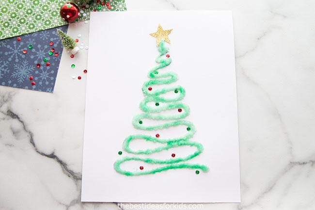 Salt Painted Christmas Tree Craft for Kids