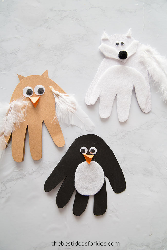 Winter Animal Handprints