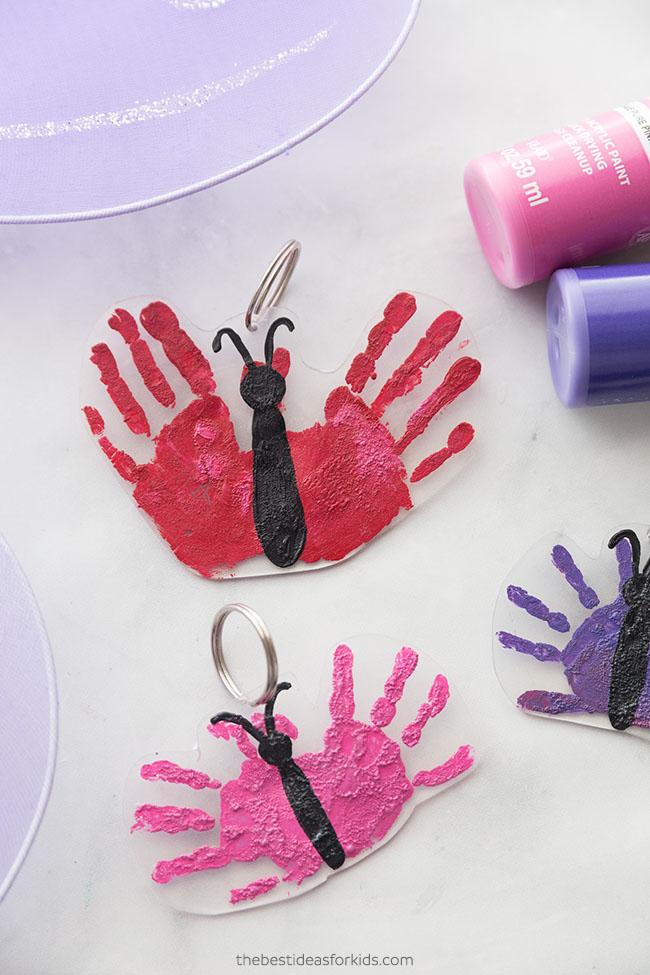 Shrinky Dink Handprint Keychain Craft