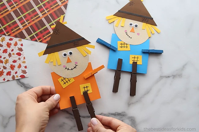 Add Clothespins to Scarecrow Craft
