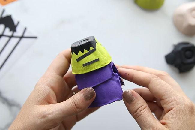 lue and Paint Frankenstein Egg Carton