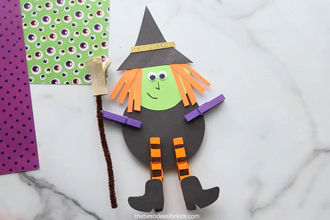 Witch Clothespin Craft for Kids