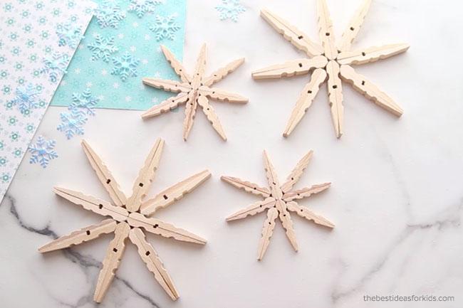 Make Clothespin Snowflakes