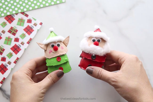 Santa and Elf Egg Cartons