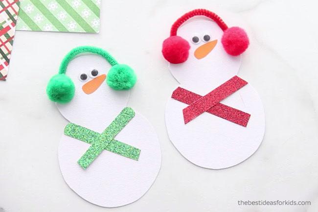 Snowman Card Add Scarves