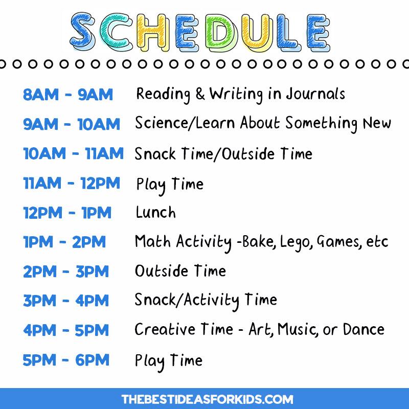 Homeschool Schedule for Kindergarten