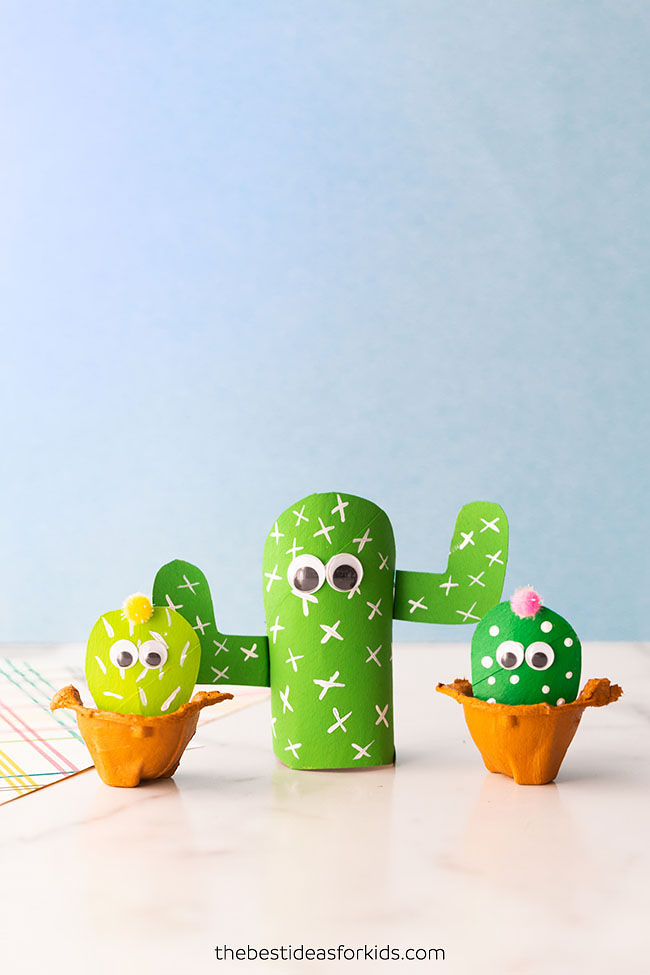 Toilet Paper Roll Cactus Craft for Kids