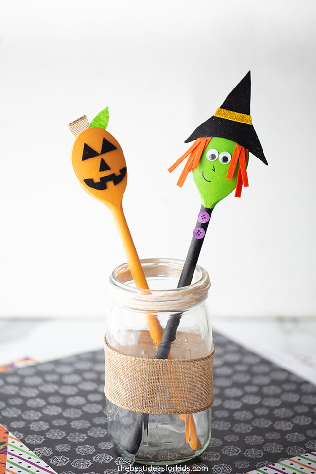 Pumpkin and Witch Spoons