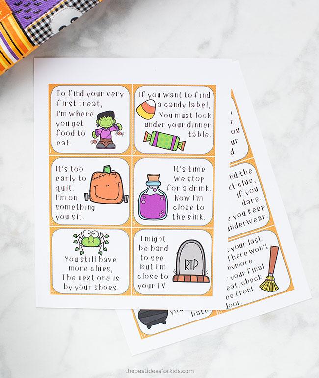 Halloween Scavenger Hunt Clue Cards