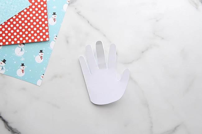 Cut out Handprint for Snowman